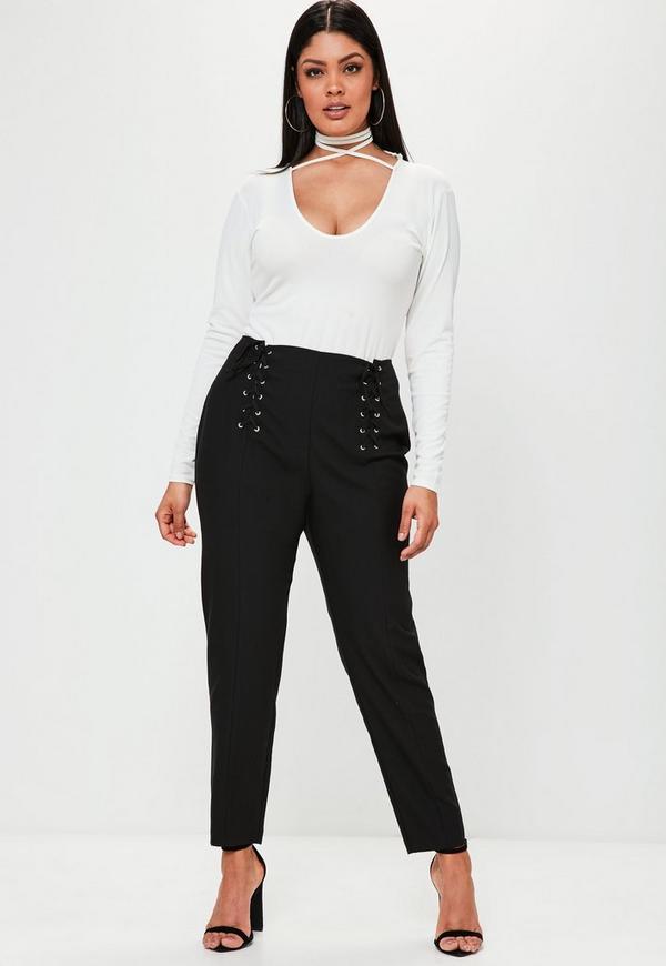 Plus Size Black Lace Up Detail Cigarette Trousers