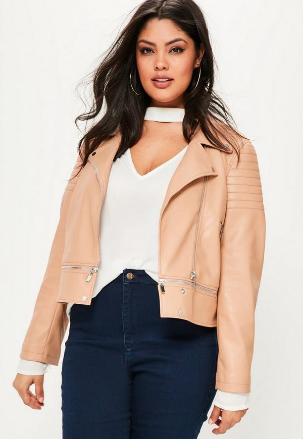 Plus Size Nude Faux Leather Zip Off Jacket