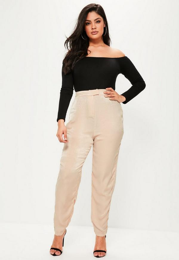 Plus Size Cream High Waisted Trousers
