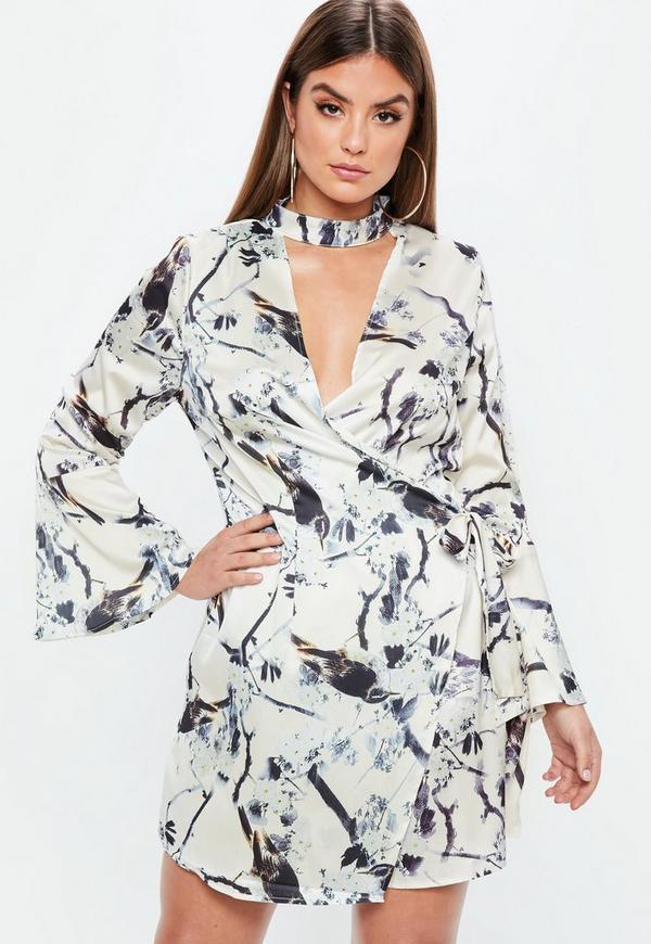 Plus Size Nude Satin Choker Neck Wrap Dress