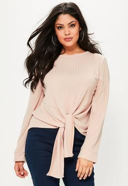Plus Size Pink Ribbed Tie Front Blouse