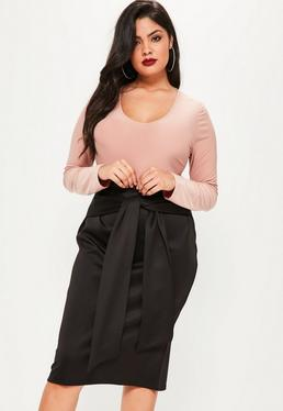 Plus Size Black Scuba Tie Waist Midi Skirt