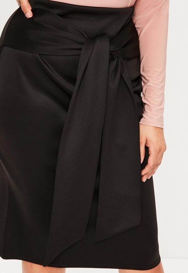 jupe midi noire grande taille lani res nou es missguided. Black Bedroom Furniture Sets. Home Design Ideas
