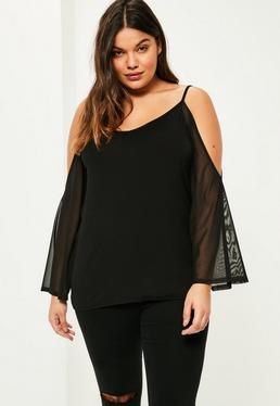 Plus Size Black Cold Shoulder Mesh Sleeve Top