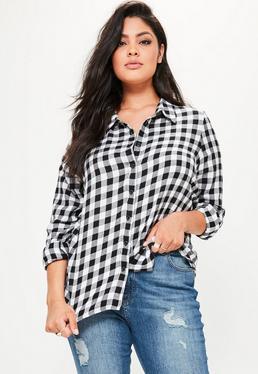 Czarna długa koszula w kratę plus size