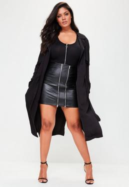 Plus Size Black Draw Cord Trench Coat
