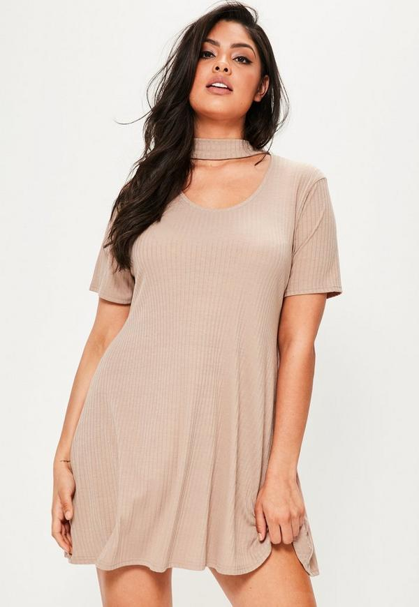 Plus Size Nude Choker Ribbed Swing Dress