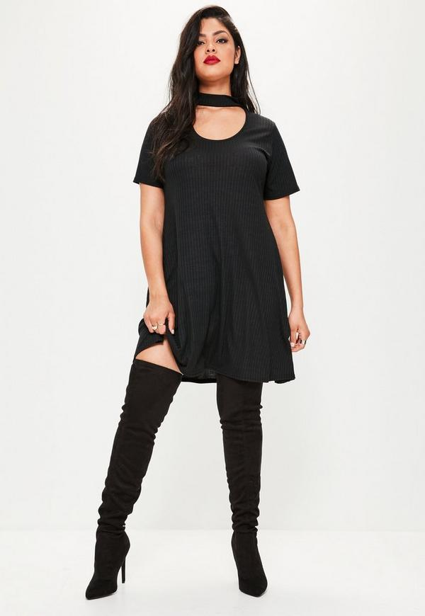 Plus Size Black Choker Ribbed Swing Dress   Missguided