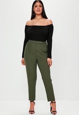 Spodnie cygaretki z paskiem w kolorze khaki plus size