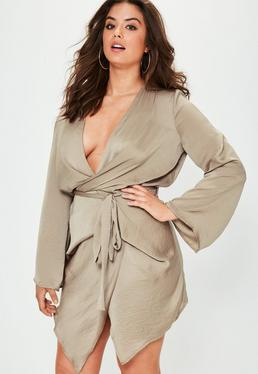 Curve Brown Satin Kimono Tie Dress