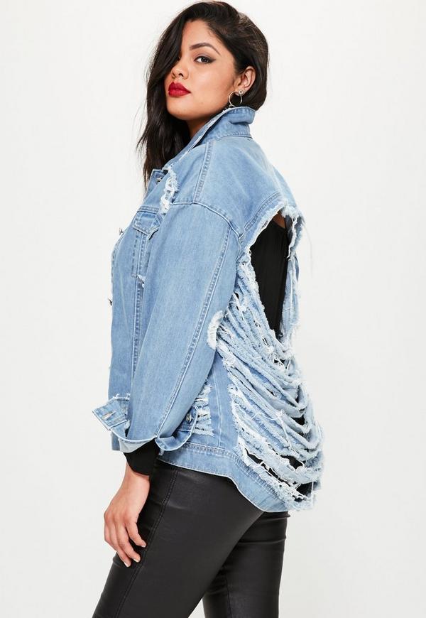 Plus Size Blue Denim Shredded Jacket