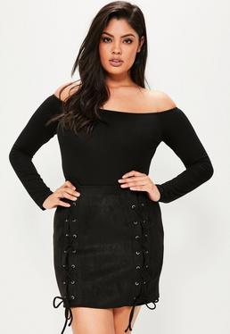 Plus Size Black Faux Suede Lace Up Skirt