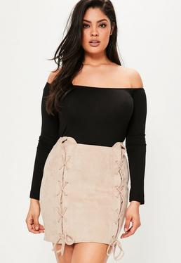 Plus Size Nude Faux Suede Lace Up Skirt