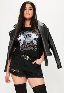 Shorts talla grande con dobladillo deshilachado en negro