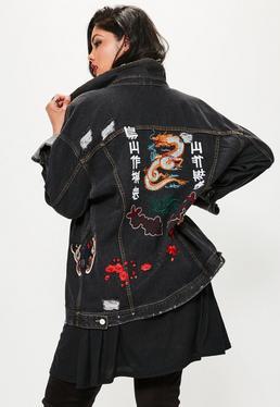 PLUS Oversize Bestickte Jeansjacke in Schwarz