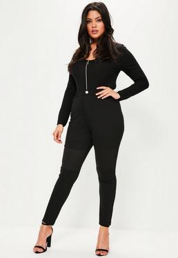 Plus Size Black Biker Zip Detail Treggings