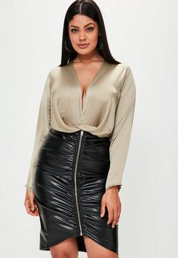 Plus Size Geknoteter Satin Langarm Body in Nude