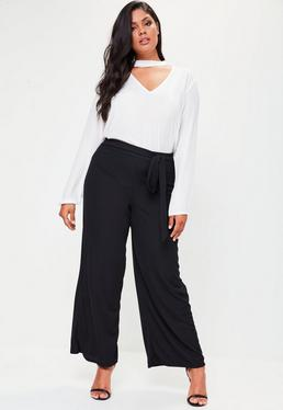 Plus Size Black Ribbed Wide Leg Trousers