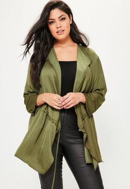 Plus Size Khaki Satin Draw String Jacket