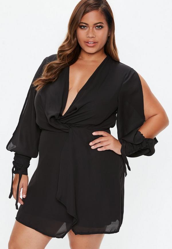 Plus Size Black Twist Front Tie Cuff Dress
