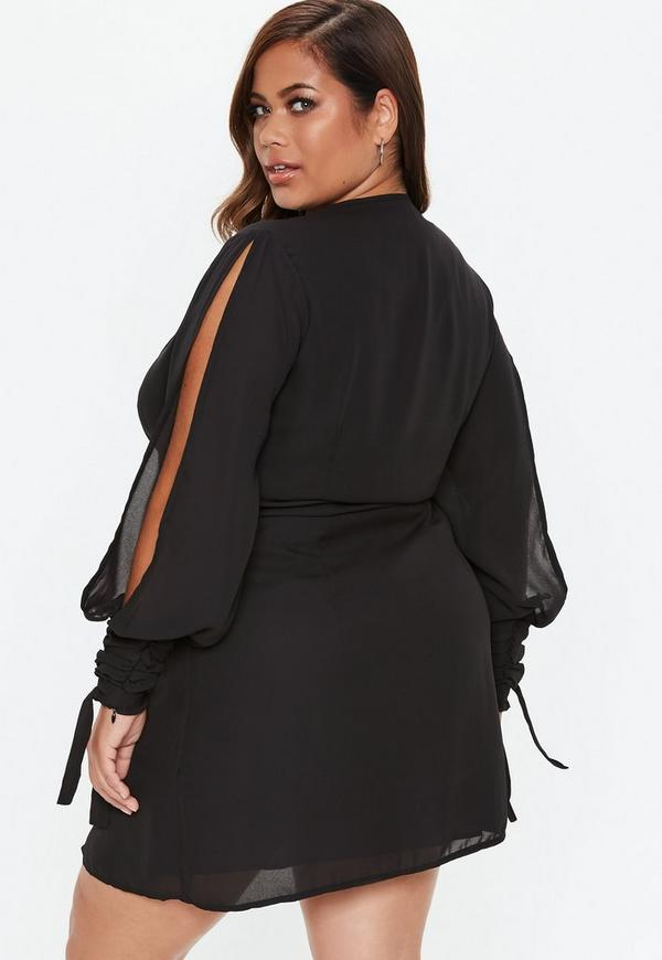 Plus Size Black Twist Front Tie Cuff Dress Missguided