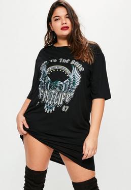 Plus Size Oversized Grafisches T-Shirtkleid in Schwarz