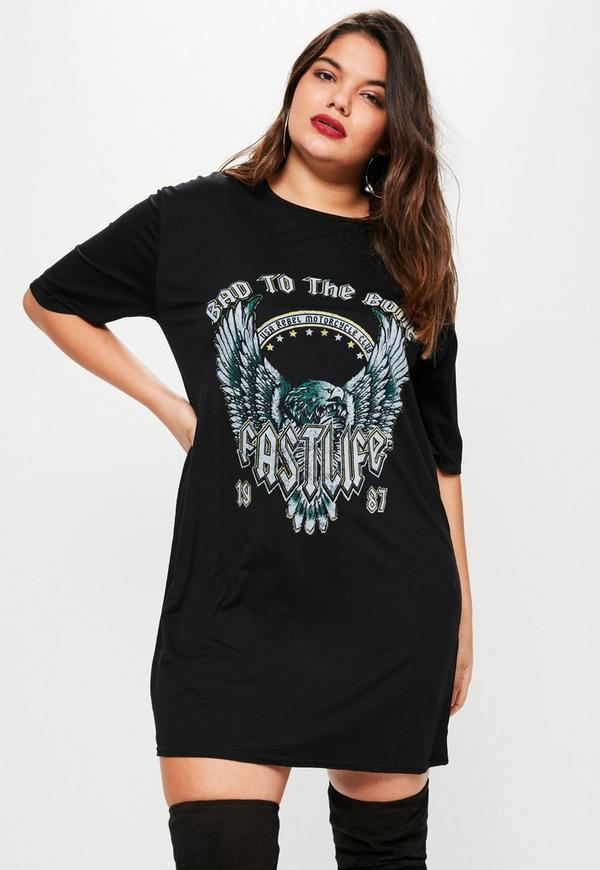 Plus Size Black Graphic Rock Print Oversized T Shirt Dress