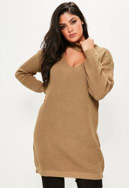 Plus Size Camel Knitted Choker Neck Jumper Dress