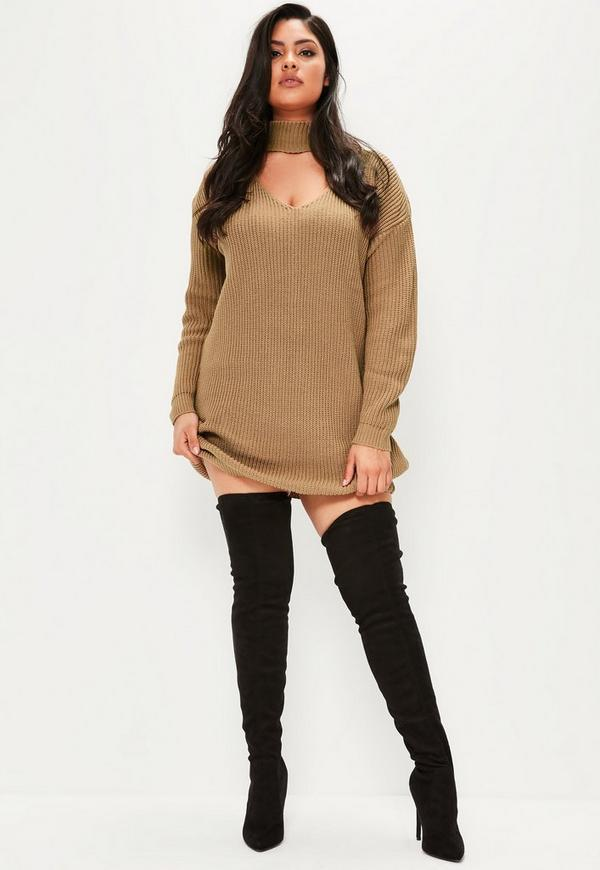 Sweater dress with boots plus size
