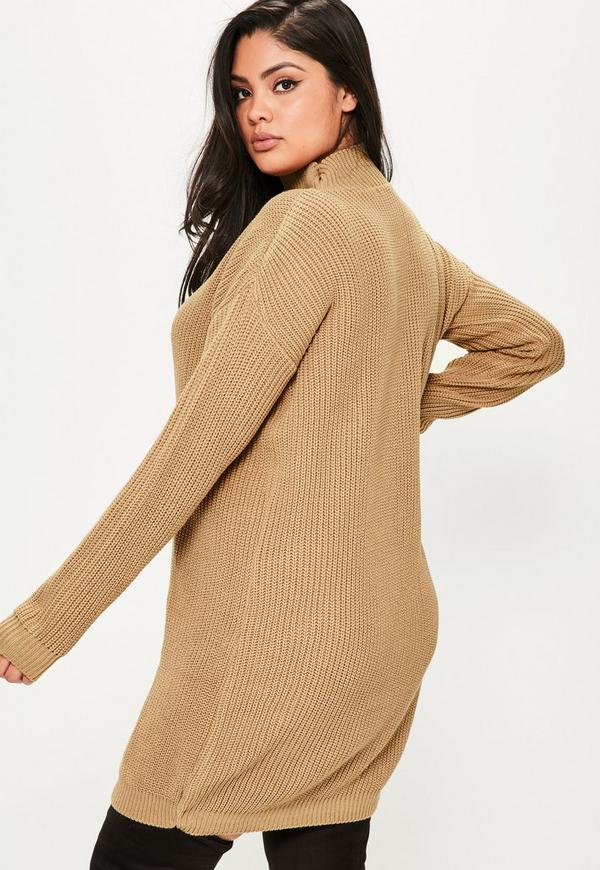 b8aab2b5f3d ... Plus Size Camel Knitted Choker Neck Sweater Dress. Previous Next