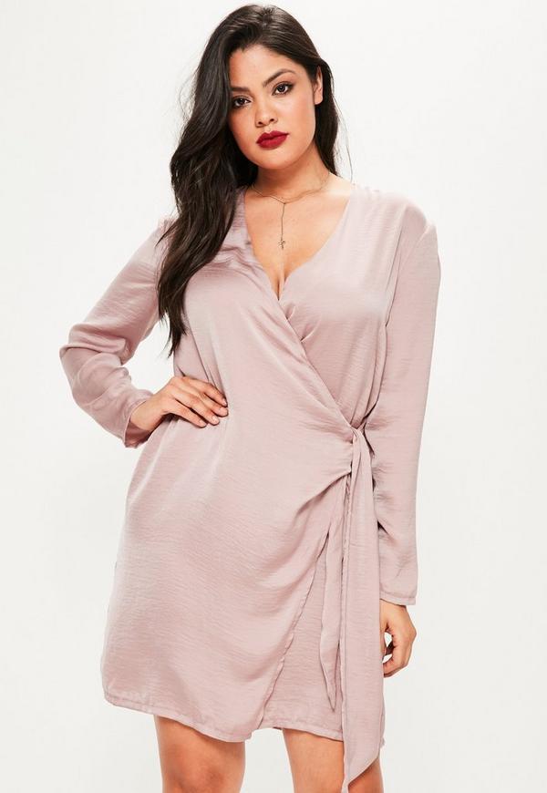 Plus Size Mauve Wrap Tie Waist Shirt Dress
