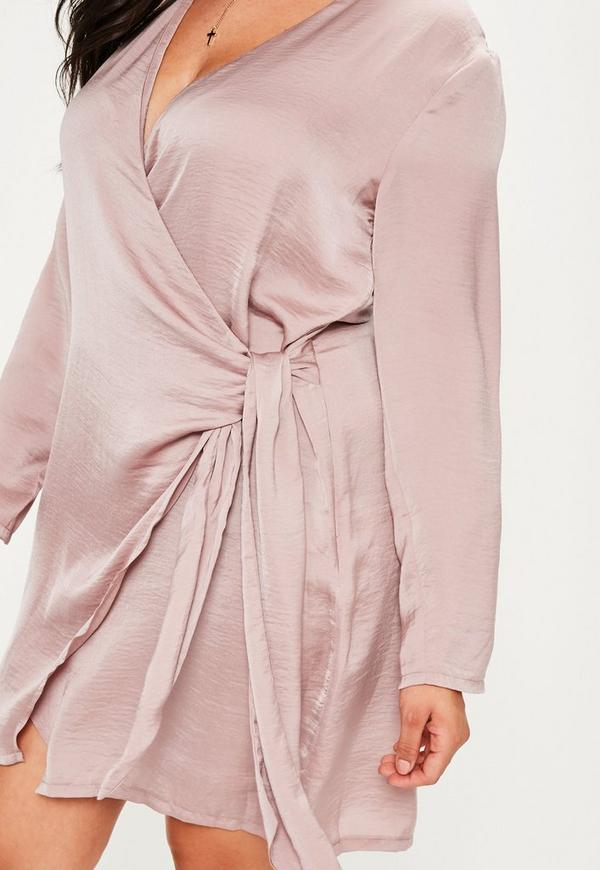 Plus Size Mauve Wrap Tie Waist Shirt Dress Missguided