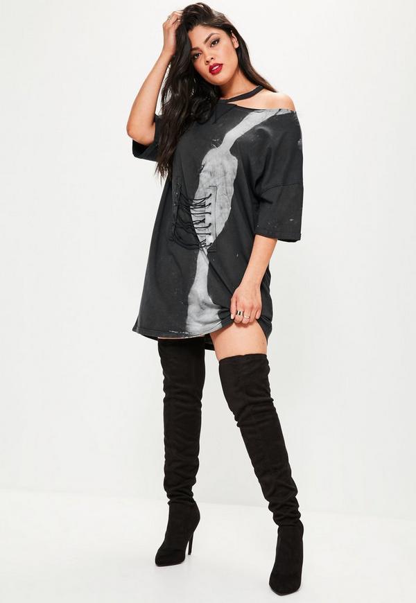 Plus Size Schwarzes Batik Korsett T-Shirt-Kleid | Missguided