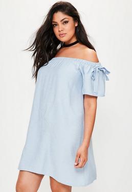Vestido talla grande recto bardot en azul