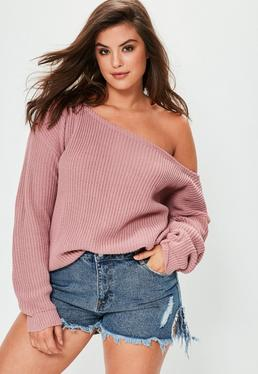 Plus Size Pink Off The Shoulder Jumper