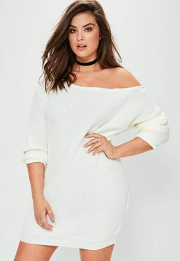 Plus Size Cream Off The Shoulder Jumper Dress