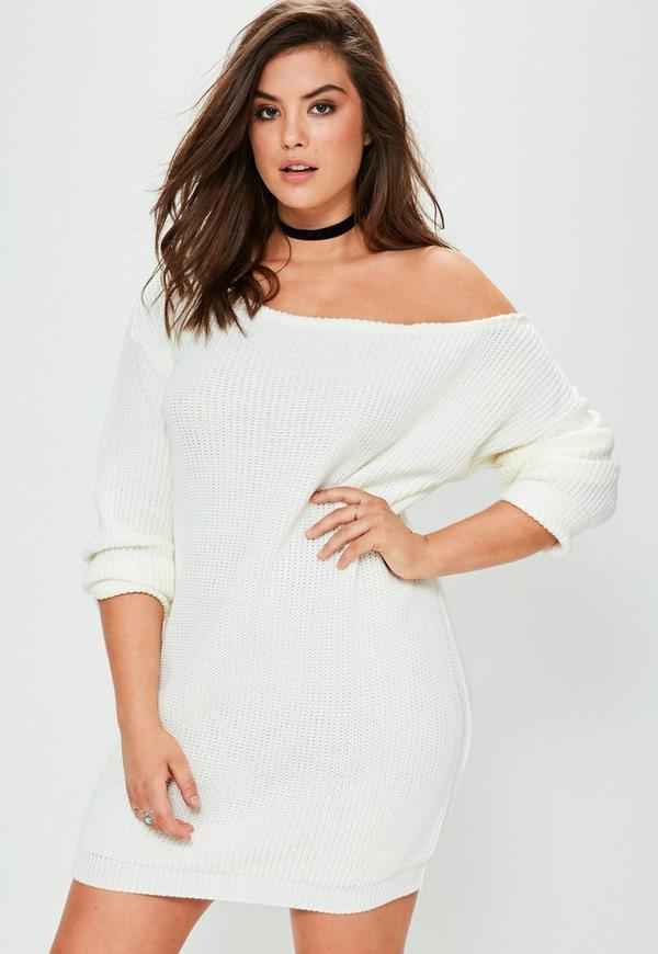 Plus Size Cream Off The Shoulder Sweater Dress | Missguided