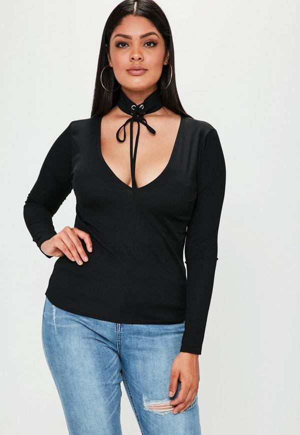 Plus Size Black Ribbed Lace Up Choker Neck Top