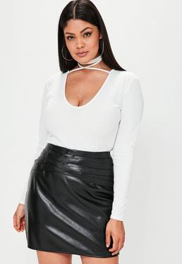Plus Size White Tie Neck Bodysuit