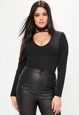 Plus Size Black Tie Neck Bodysuit