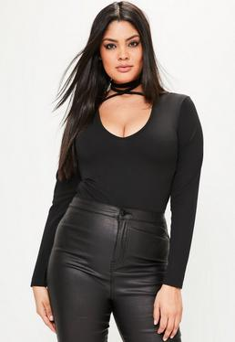 Plus Size Black Tie Neck Bodysuit