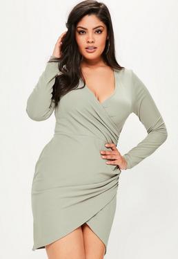 Plus Size Green Ribbed Wrap Dress