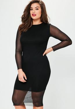 Plus Size Black Mesh Details Bodycon Midi Dress