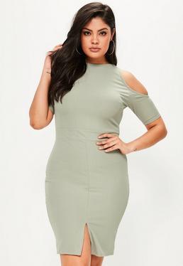 Plus Size Green Cold Shoulder Bodycon Midi Dress