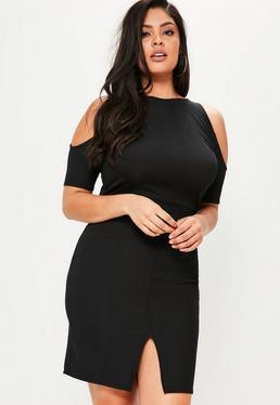 Plus Size Black Cold Shoulder Bodycon Midi Dress