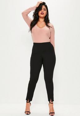 Pantalón de pinzas pitillo talla grande en negro