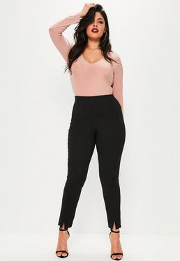 Plus Size Black Skinny Fit Cigarette Pants