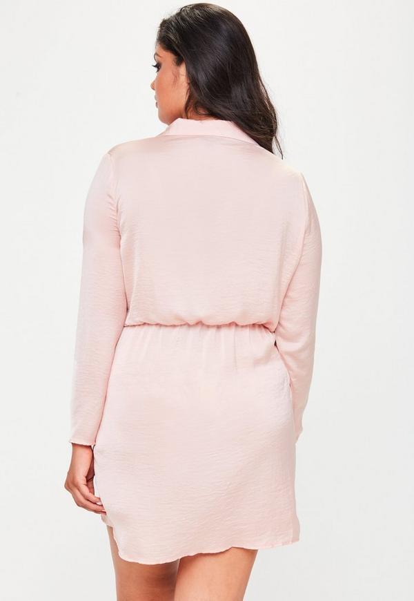 Plus Size Pink Satin Wrap Mini Dress Missguided