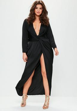 Plus Size Black Satin Thigh Split Wrap Maxi Dress