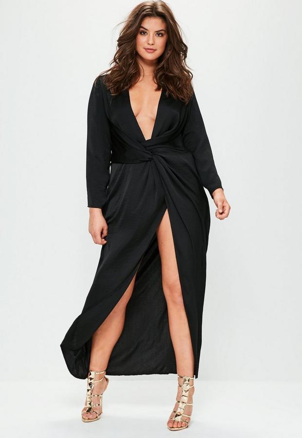 Product photo of Plus size black satin thigh split wrap maxi dress black